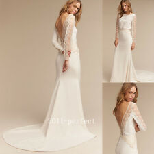Snowflake Embroidery Wedding Dresses Backless Elegant Sheath Bridal Gowns Custom