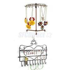 Wall Hanger or Rotating Jewelry Earring Organizer Necklace Display Rack Holder