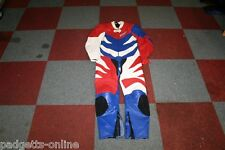 AKITO RED BLUE WHITE LADIES ONE PIECE LEATHER MOTORCYCLE SUIT SIZE UK 16