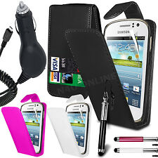 PU Leather Flip Case Cover, LCD Film, Pen & Car Charger For Samsung Galaxy Fame