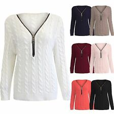 NEW LADIES CABLE KNIT V NECK ZIP JUMPER LONG SLEEVE THICK KNITTED WOMENS TOPS