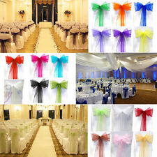10 50 100 Organza Sashes Chair Cover Bow Sash Wider Fuller BOWS Wedding Party US