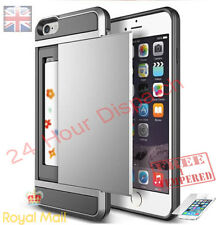 Silver Hybrid Hard Back Card Storage Slide Case Cover For iPhone 6 Plus {bi128
