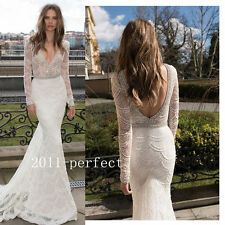 Flakes Shape Beading Mermaid Wedding Dresses Long Sleeve Bridal Gowns Custom New