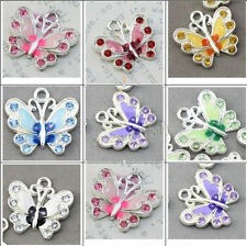 Beautiful 5/20/50Pcs Chic Silver Plated Enamel Crystal Butterfly Charms Pendants