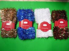 21 FT Tinsel Garland Christmas Holiday Decoration White Blue Gold/Red Green/Red