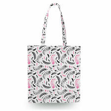 Watercolor Feathers Pink Canvas Tote Bag - 16x16 inch Book Gym Bag Optional Zip