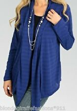 Blue Long Sleeve Shrug/Cover-Up Drape Scarf Tunic Cardigan