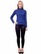 Womens Striped Long Sleeve Turtle Polo High Neck Stretchy T-Shirt Top Jumper M/L