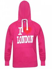 Mens Fleece Pullover Hoodie I Love London Print Winter Hooded Sweatshirt Small