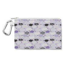 Geometric Clouds Lilac Canvas Zip Pouch - Pencil Case Multi Purpose Makeup Bag