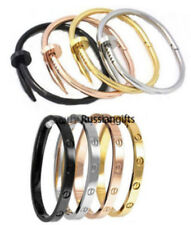 Women's Men's Stainless Steel Bracelet Bangle nail screw Bracelets 2 pc set