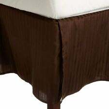 One Bed Skirt/valance 100% Egyptian Cotton 15 Inch Drop 1000 TC Chocolate Stripe