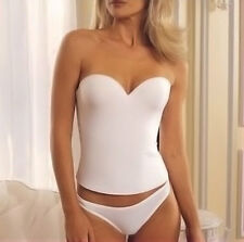 White Low Back BRIDAL Wedding BUSTIER Corset PUSH UP LONGLINE Seamless BRA