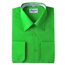 BERLIONI ITALY MEN'S FRENCH CONVERTIBLE CUFF SOLID DRESS SHIRT APPLE GREEN