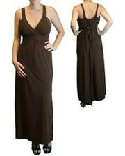 Brown Maxi Dress Empire Waist Crossfront 1X 2X 3X Full Length Belted New Plus