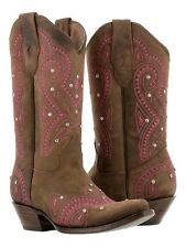 womens brown pink western leather cowboy cowgirl boots rhinestones rodeo