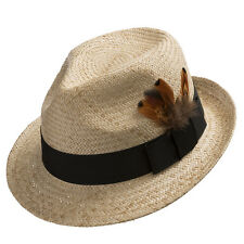 Fedora Sedona Straw Panama Hat Trilby with Feather