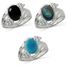 Cabochon Stone 925 Sterling Silver Contemporary Ring