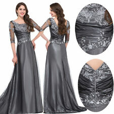 Lace Long 1/2 Sleeve Formal Party Vintage Dress Evening Wedding Retro Ball Gowns