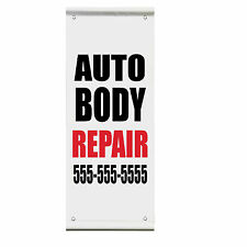 Auto Body Repair Custom Phone Advertisement Double Sided Pole Banner Sign