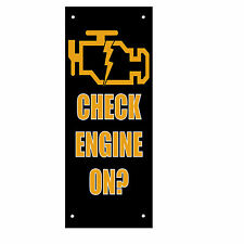 Check Engine Light On? Style 2 Double Sided Vertical Pole Banner Sign