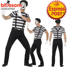 CA174 Gentleman Mime Mens Costume French Artist Clown Circus Fancy Dress Outfit