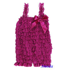 Baby Girls Raspberry Plum Vintage Purple Lace Petti Romper Rompers Bow NB-3Y