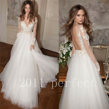 2017 Summer Beach Wedding Dresses Lace Applique Backless Bridal Gown Custom Size
