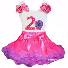 Hot Pink Purple Pettiskirt & 2nd Birthday Cupcake Tank Top Dress Outfit