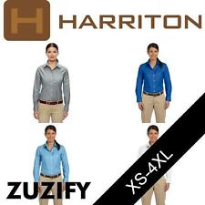 Harriton Ladies Long-Sleeve Oxford Shirt with Stain-Release. M600W