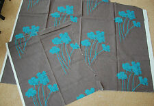 Linen union FABRIC. Brown and turquoise, Flowers
