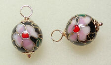 12mm Black Cloisonne INTERCHANGEABLE Earring Charms SILVER, ROSE or YG