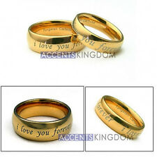 ACCENTS KINGDOM MENS & WOMENS TUNGSTEN GOLD DOME WEDDING BANDS RING SET
