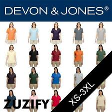 Devon & Jones Classic Ladies Pima Pique Short-Sleeve Polo Shirt. D100W
