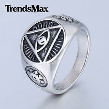 Mens Ring Eye Symbol Silver Tone 316L Stainless steel Signet Ring Fashion GIFT