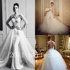 Gorgeous Sexy Wedding Dresses Detachable Train Lace Backless Formal Bridal Gown