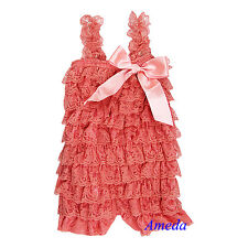 Baby Girls Coral Pink Posh Lace Petti Romper Rompers Strap Bow NB-3Y