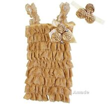 Baby Satin Rosettes Toasted Almond Lace Petti Rompers Headband 2pcs Set