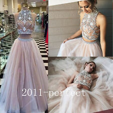 2 Piece Beading Evening Dresses Formal Prom Dress Gowns Custom 2017 Summer