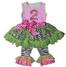Girls 2nd Birthday Chevron Pink Lime Zebra Ruffled Top Pants Set Outfit