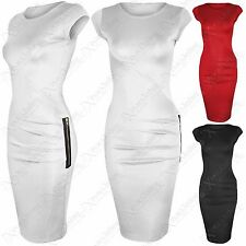 NEW LADIES SIDE ZIP DETAIL MIDI DRESS WOMENS BODYCON FIT WIGGLE PENCIL SKIRT
