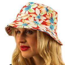 Summer Floral Reversible Beach Pool Cotton Bucket Fisherman Sun Hat Cap S