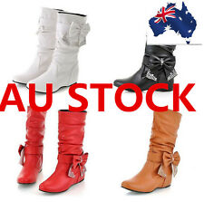 Womens Casual Round Toe Bowknot Shoes Knee High Mid Calf Flat Lady Boots
