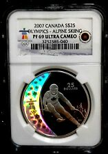 2007 Canada Silver Proof S$25 Olympics NGC Graded PF69 Ultra Cameo ALPINE SKIING