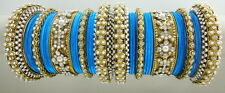 TURQUOISE CZ PEARL GOLD TONE TRADITIONAL BOLLYWOOD BANGLE SET CHURI JEWELRY