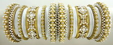 WHITE CZ PEARL GOLD TONE TRADITIONAL BOLLYWOOD BANGLE SET CHURI JEWELRY