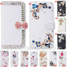 Magnetic Bling Luxury Diamonds Crystal PU Leather wallet flip Slots Cover Case N