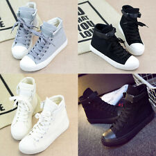 Fashion Womens Canvas Flat Shoes Casual High Top Sneakers Athletic Running Shoe