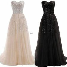 Fashion Women Sexy Strapless Sequins Cocktail Party Ball Gown Evening Long Dress